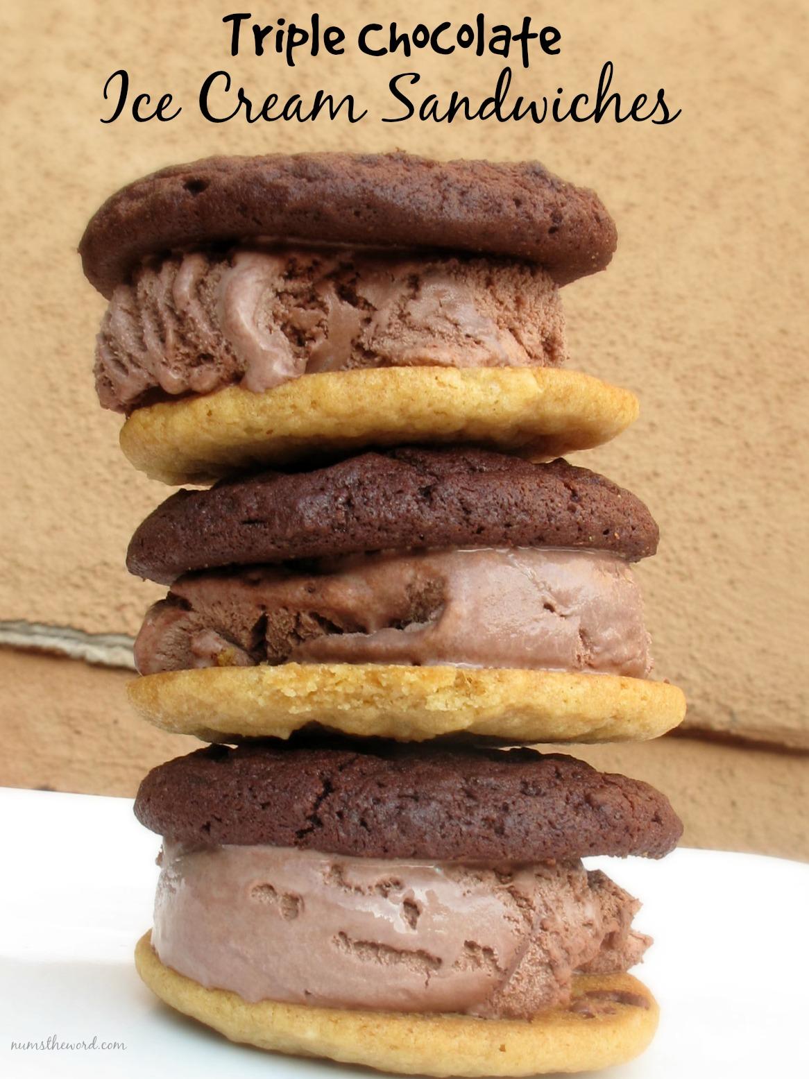 Triple Chocolate Ice Cream Sandwiches